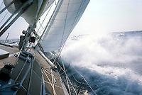 Première Route du Rhum, 1978. Essais sur Kriter V, skipper Michel Malinovsky, arrivé deuxième à 98 secondes près.