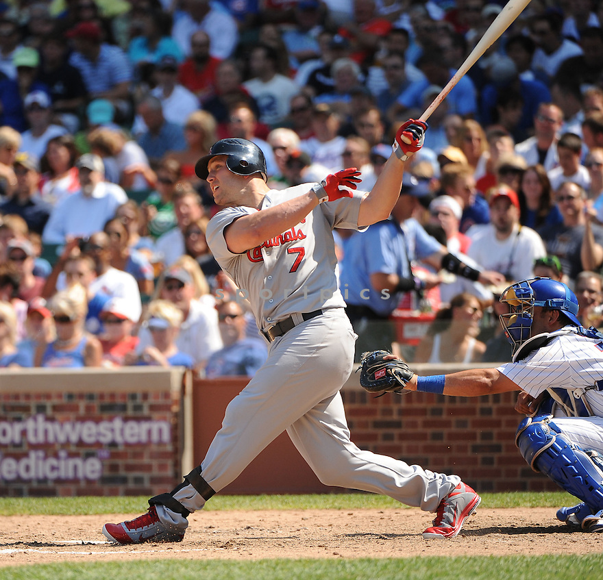 MATT HOLLIDAY, of the St. Louis Cardinals, in action during the Cardinals game against the Chicago Cubs on August 19, 20011, at Wrigley Field in Chicago, Illinois. The Cubs beat the Cardinals 5-4