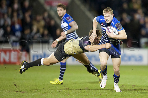 08.04.2016. AJ Bell Stadium, Salford, England. European Champions Cup. Sale versus Montpellier. Sale Sharks fullback Mike Haley breaks a tackle