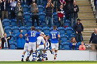 The Colchester players celebrate the third goal during Colchester United vs Crawley Town, Sky Bet EFL League 2 Football at the JobServe Community Stadium on 13th October 2018