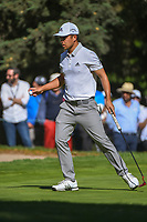 Xander Schauffele (USA) after sinking his putt on 7 during round 1 of the World Golf Championships, Mexico, Club De Golf Chapultepec, Mexico City, Mexico. 2/21/2019.<br /> Picture: Golffile | Ken Murray<br /> <br /> <br /> All photo usage must carry mandatory copyright credit (© Golffile | Ken Murray)