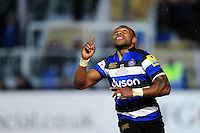 Semesa Rokoduguni of Bath Rugby celebrates scoring a try on the occasion of his 100th appearance for the club. Aviva Premiership match, between Bath Rugby and Northampton Saints on February 10, 2017 at the Recreation Ground in Bath, England. Photo by: Patrick Khachfe / Onside Images