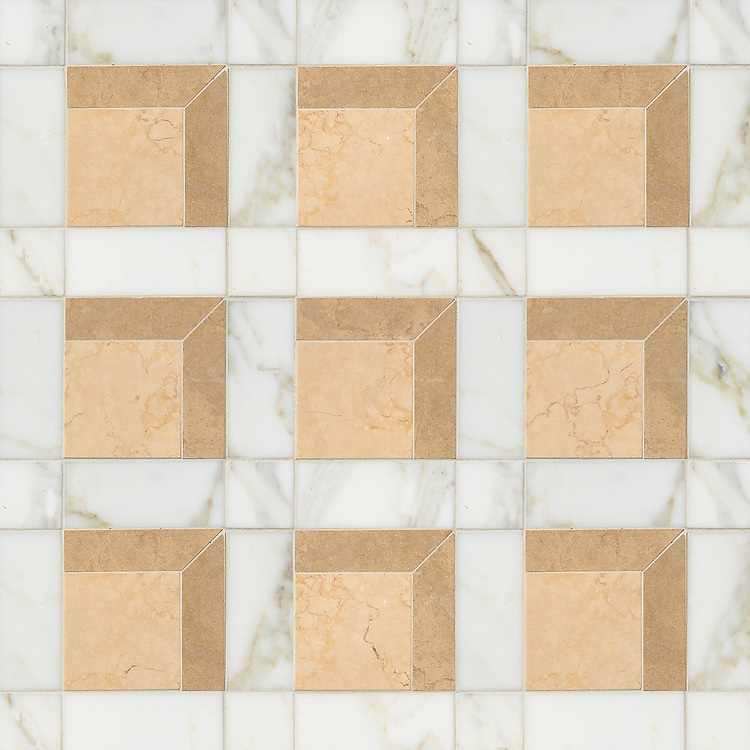 Paseo, a handmade mosaic shown in polished Calacatta, honed Lagos Gold and honed Sylvia Gold, was designed by Paul Schatz as part of the Illusions® collection by New Ravenna.
