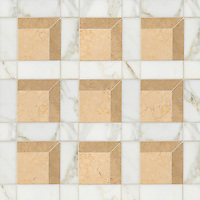Paseo, a handmade mosaic shown in polished Calacatta, honed Lagos Gold and honed Sylvia Gold, is part of the Illusions™ collection by Sara Baldwin and Paul Schatz for New Ravenna.