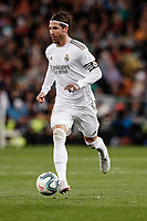 1st March 2020; Estadio Santiago Bernabeu, Madrid, Spain; La Liga Football, Real Madrid versus Club de Futbol Barcelona; Sergio Ramos (Real Madrid)  comes forward looking for a team mate pass