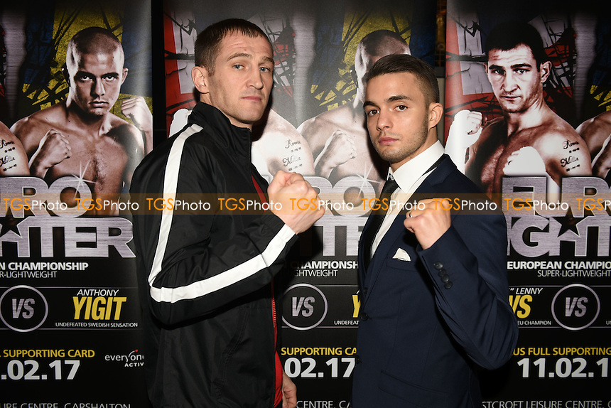 Boxers Lenny Daws (L) and Anthony Yigit during a Hennessy Sports Press Conference at the Sports Bar & Grill, Marylebone on 9th February 2017