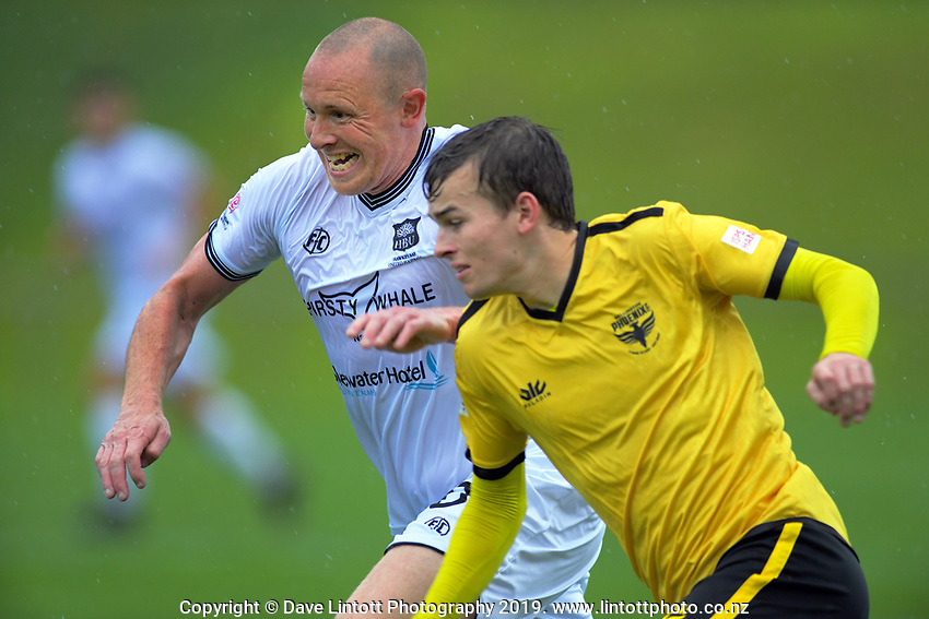 Bill Robertson in action during the ISPS Handa Premiership football match between Wellington Phoenix Reserves and Hawkes Bay United at Porirua Park in Wellington, New Zealand on Sunday, 10 November 2019. Photo: Dave Lintott / lintottphoto.co.nz
