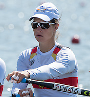 Brandenburg. GERMANY.<br /> GER W4X. Carina BAER,  at the start of their heat. 2016 European Rowing Championships at the Regattastrecke Beetzsee<br /> <br /> Friday  06/05/2016<br /> <br /> [Mandatory Credit; Peter SPURRIER/Intersport-images]