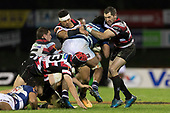 Ronald Raaymakers, Augustine Pulu and Stephen Donald tackle Akira Ioane. Mitre 10 Cup rugby game between Counties Manukau Steelers and Auckland played at ECOLight Stadium, Pukekohe on Saturday August 19th 2017. Counties Manukau Stelers won the game 16 - 14 and retain the Dan Bryant Memorial trophy.<br /> Photo by Richard Spranger.