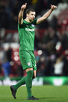 Preston's Paul Huntington gives thumbs-up to the Preston supporters<br /> <br /> Photographer Jonathan Hobley/CameraSport<br /> <br /> The EFL Sky Bet Championship - Brentford v Preston North End - Saturday 10th February 2018 - Griffin Park - Brentford<br /> <br /> World Copyright &copy; 2018 CameraSport. All rights reserved. 43 Linden Ave. Countesthorpe. Leicester. England. LE8 5PG - Tel: +44 (0) 116 277 4147 - admin@camerasport.com - www.camerasport.com