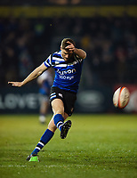 Rhys Priestland of Bath Rugby kicks for the posts. Premiership Rugby Cup match, between Bath Rugby and Gloucester Rugby on February 3, 2019 at the Recreation Ground in Bath, England. Photo by: Patrick Khachfe / Onside Images