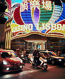 CHINA, Macau, Asia, Casino Lisboa at night