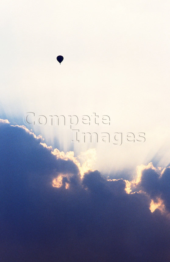 Hot air balloons in flight high in the sky