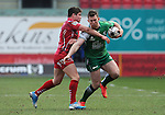 Connacht's Matt Healy is tackled by Scarlets' Harry Robinson<br /> <br /> Rugby - Scarlets V Connacht - Guinness Pro12 - Sunday 15th Febuary 2015 - Parc-y-Scarlets - Llanelli<br /> <br /> &copy; www.sportingwales.com- PLEASE CREDIT IAN COOK