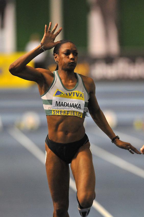 Photo: Tony Oudot/Richard Lane Photography..Aviva European Trials & UK Championships athletics. 14/02/2009. .Joyce Maduaka wins the womens 60m Final.