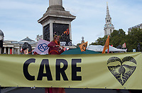Environmental activists from Extinction Rebellion protest in London on 09 October 2019 in London, England.<br /> .<br /> Protesters plan to blockade the London government district for a two week period, as part of 'International Rebellion' taking place in over 60 cities around the world, calling for decisive and immediate action from governments in the face of climate and ecological emergency. <br /> .<br />  Photo by Alan  Stanford.