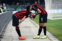 Lucas Biglia of AC Milan celebrates with Patrick Cutrone after scoring the goal of 0-1 <br /> Verona 9-03-2018 Stadio Bentegodi Football Serie A 2018/2019 Chievo Verona - AC Milan <br /> photo Image Sport / Insidefoto