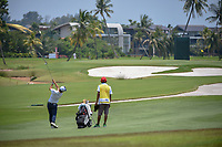 Bryan Wiyang TEOH (MAS) hits his approach shot on 16 during Rd 1 of the Asia-Pacific Amateur Championship, Sentosa Golf Club, Singapore. 10/4/2018.<br /> Picture: Golffile | Ken Murray<br /> <br /> <br /> All photo usage must carry mandatory copyright credit (&copy; Golffile | Ken Murray)