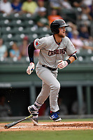 Third baseman Charles Leblanc (10) of the Hickory Crawdads runs out a batted ball in a game against the Greenville Drive on Sunday, July 16, 2017, at Fluor Field at the West End in Greenville, South Carolina. Hickory won, 3-1. (Tom Priddy/Four Seam Images)