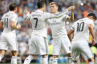 Gareth Bale, Cristiano Ronaldo, Toni Kroos and James of Real Madrid during La Liga match between Real Madrid and Atletico de Madrid at Santiago Bernabeu stadium in Madrid, Spain. September 13, 2014. (ALTERPHOTOS/Caro Marin)