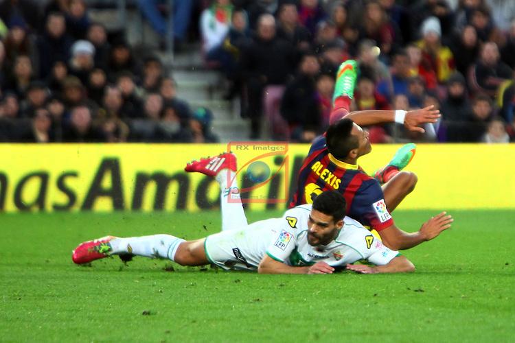 League BBVA 2013/2014 - Game: 18.<br /> FC Barcelona vs Elche CF: 4-0.<br /> Botia vs Alexis Sanchez.