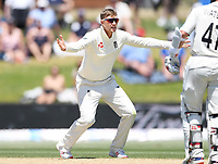 24th November 2019; Mt Maunganui, New Zealand;  Joe Root appeals successfully for a LBW decision during play on day 4 of the 1st international cricket test match, New Zealand versus England at Bay Oval, Mt Maunganui, New Zealand.  - Editorial Use