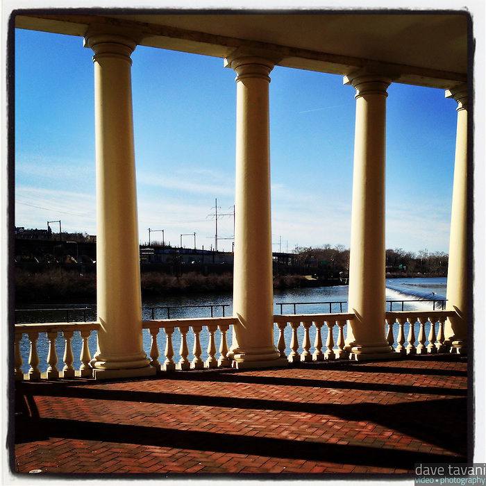 The columns at the Fairmount Waterworks cast shadows in the late afternoon sun on March 9, 2013.
