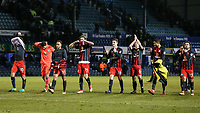 Blackburn Rovers' players removing their shirts to give to their fans<br /> <br /> Photographer Andrew Kearns/CameraSport<br /> <br /> The EFL Sky Bet League One - Portsmouth v Blackburn Rovers - Tuesday 13th February 2018 - Fratton Park - Portsmouth<br /> <br /> World Copyright &copy; 2018 CameraSport. All rights reserved. 43 Linden Ave. Countesthorpe. Leicester. England. LE8 5PG - Tel: +44 (0) 116 277 4147 - admin@camerasport.com - www.camerasport.com