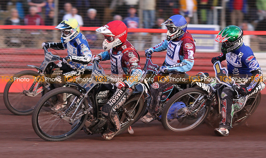 Heat 13: Lee Richardson (red), Joe Screen (green), Kauko Nieminen (blue) and Chris Holder (yellow) - Lakeside Hammers vs Poole Pirates, Elite League Speedway at the Arena Essex Raceway, Purfleet - 20/07/09 - MANDATORY CREDIT: Rob Newell/TGSPHOTO - Self billing applies where appropriate - 0845 094 6026 - contact@tgsphoto.co.uk - NO UNPAID USE.