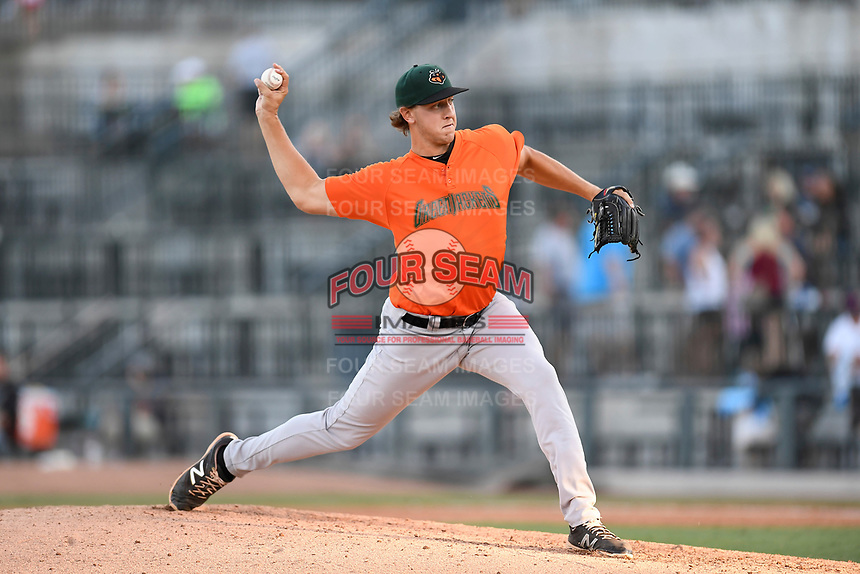 Pitcher Nolan Riggs (32) of the Augusta GreenJackets delivers a pitch in a game against the Columbia Fireflieon Sunday, July 30, 2017, at Spirit Communications Park in Columbia, South Carolina. Augusta won, 6-0. (Tom Priddy/Four Seam Images)