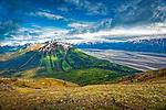 View of Bird Creek Valley and Turnagain Arm from Bird Ridge, Chugach State Park, Southcentral Alaska, Summer.