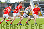 John Moynihan Rathore and Padraig De Brun East Kerry contest the loose ball during their SFC clash in Fitzgerald Stadium on Sunday