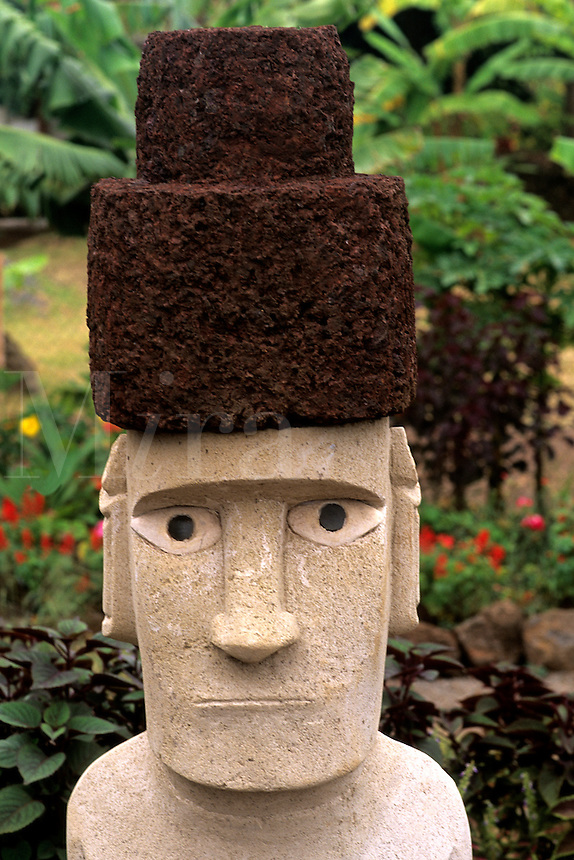 Local garden with Moai art work Easter Island during Tapati Festival Rapa Nu
