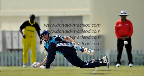 T20 World Cup Qualifying match - Scotland V Uganda at the ICC Global Cricket Academy - Dubai - pic shows opener Richie Berrington sweeping the ball away on his way making 21 in a 55 run 1st wicket stand - Scotland won by 34 runs - Picture by Donald MacLeod  15.3.12  07702 319 738  clanmacleod@btinternet.com