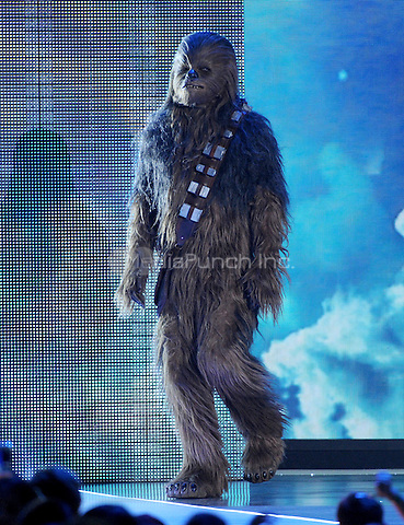 LOS ANGELES, CA - MARCH 12: Chewbacca onstage at the Nickelodeon 2016 Kids Choice Awards at The Forum on March 12, 2016 in Inglewood, California. Credit: PGFM/MediaPunch