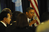 United States President Barack Obama sips some wine after sharing a toast before lunch with United Nations Secretary General Ban Ki-Moon at UN Headquarters in New York, New York on Wednesday, September 21, 2011..Credit: Aaron Showalter / Pool via CNP