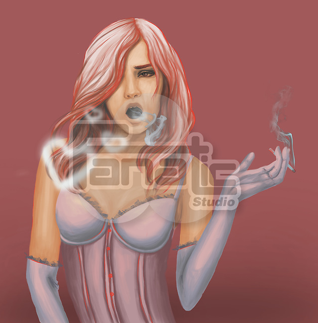 Conceptual illustration of a pin up woman smoking heart over colored background