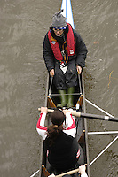 Chiswick, London. ENGLAND,11.03.2006, Cox using steering strings, Women's Eight. Women's Head of the River Race Mortlake to Putney  on Saturday 11th March    © Peter Spurrier/Intersport-images.com.. 2006 Women's Head of the River Race. Rowing Course: River Thames, Championship course, Putney to Mortlake 4.25 Miles