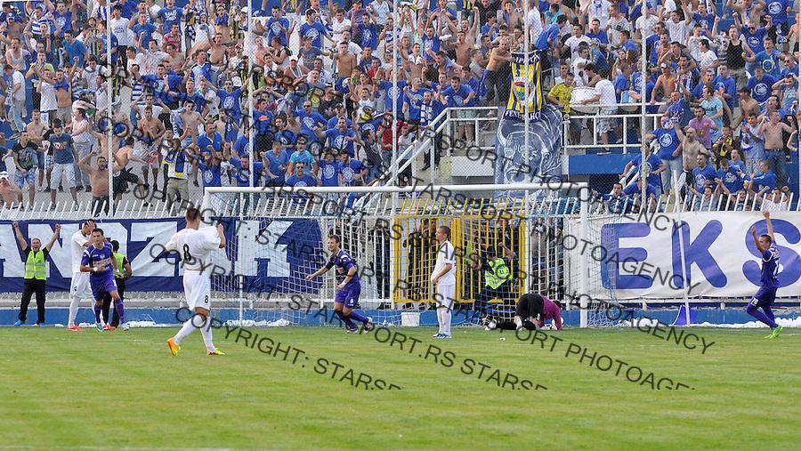 Fudbal Super liga season 2013-2014<br /> Novi Pazar v Rad<br /> Proslavljanje gola Mladen Popovic (NP), Nemanja Vidakovic (NP) i Uros Nenadovic (NP)<br /> Novi Pazar, 17.08.2013<br /> foto: Emir Sadovic/Starsportphoto &copy;