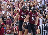 Hawgs Illustrated/BEN GOFF <br /> Jacob August (40) congratulates fellow South Carolina tight end Hayden Hurst (81) after a touchdown in the first half against Arkansas Saturday, Oct. 7, 2017, at Williams-Brice Stadium in Columbia, S.C.