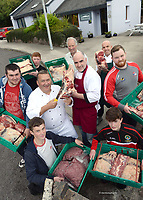 Pictured at the Dingle Cookery School for the launch of the &quot;salted grass&quot; beef and lamb pilot project as part of the annual Dingle Food Festival which takes place between Sept 29-Oct 1st were, Chefs Martin Bealin and Mark Murphy, Butcher Mike Cahillane, Farmer Colm Murphy and Pobailscoil An Daingean students Darragh Murphy, Maurice Kelleher, Sean Brosnan, Louis O'Murchan and Gavin McCarthy who have raised and fattened 6 heifers as part of the pilot project.  The next stage of the project will be at Farmer's Forum when local farmers will hear more details about the project and the setting up of a local co-op to take the project forward.<br /> More information on www.dinglefood.com<br /> Photo Don MacMonagle<br /> <br /> REPRO   PHOTO<br /> <br /> <br /> Press Release:<br /> A local initiative launched in Dingle, County Kerry this week aims to establish a lucrative market for locally raised &quot;salted grass&quot; beef and lamb. The project draws together a number of special attributes that are found in West Kerry and no where else. These include Dingle's status as the Foodie town capital of Ireland, the extraordinarily high calibre of chefs who work in Dingle,  the native expertise of local farmers and not least the unique flavour imparted to meat by grass that is well salted by the Atlantic. The project grew out of the farmer's Forum meetings held during the annual Dingle Food festival. Chef's Martin and Mark along with progressive farmer Colum Murphy, John Benny Moriarty, Louis Murchan and Joan Maguire put together a strategy for developing and marketing the unique salted grass fed quality of West Kerry Beef and Lamb. The objective of this project is to try and reconnect the farmer with the customer again and hopefully he too can feel the benefit of tourism.  it's also to encourage the bar, butcher and restaurant owner to source their beef and/or lamb locally.The success of &quot;Blasket Island Lamb&quot; indicates that the meat produced here is of a high quality and that people will travel to purchase it.&quot; As a pilot project the