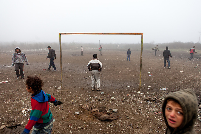 """Soccer field at the Roma settlement located in """"Budulovskej Street"""" in Moldava nad Bodvou, Eastern Slovakia about 30 km from Kosice."""