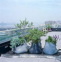 On a roof terrace with views over the Hudson river silicon planters by Paula Hayes are used to separate the large space