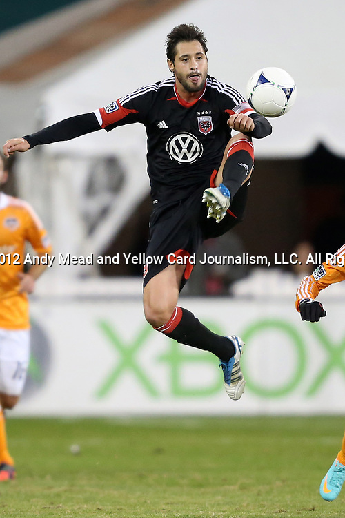 18 November 2012: DC's Branko Boskovic (MNE). DC United played the Houston Dynamo at RFK Stadium in Washington, DC in the second leg of their 2012 MLS Cup Playoffs Eastern Conference Final series. The game ended in a 1-1 tie, Houston won the series 4-2 on aggregate goals.