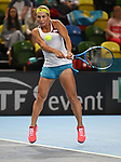 Yulia Putintseva (Kazakhstan). Rubber 2. Great Britain v Kazakhstan. World group II play off in the BNP Paribas Fed Cup. Copper Box arena. Queen Elizabeth Olympic Park. Stratford. London. UK. 20/04/2019. ~ MANDATORY Credit Garry Bowden/Sportinpictures - NO UNAUTHORISED USE - 07837 394578