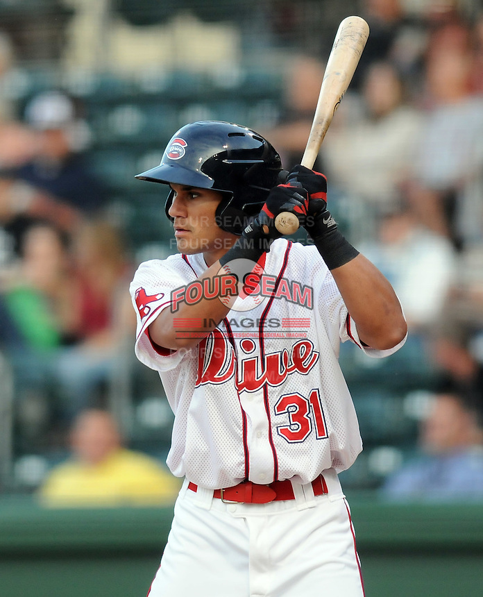 Outfielder Reymond Fuentes (31) of the Greenville Drive, Class A affiliate of the Boston Red Sox, at a game against the West Virginia Power April 29, 2010, at Fluor Field at the West End in Greenville, S.C. Photo by: Tom Priddy/Four Seam Images