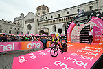 Australian National Champion Rohan Dennis (AUS) BMC Racing Team starts Stage 16 of the 2018 Giro d'Italia, a 34.2km individual time-trial from Trento to Rovereto the stage is a pivotal moment in the fight for the Corsa Rosa's GC, Italy. 21st May 2018.<br /> Picture: LaPresse/Massimo Paolone | Cyclefile<br /> <br /> <br /> All photos usage must carry mandatory copyright credit (&copy; Cyclefile | LaPresse/Massimo Paolone)