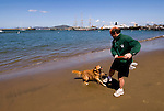 San Francisco: Man and dog playing on beach at Aquatic Park next to Hyde Street Pier. Photo 13-casanf78311. Photo copyright Lee Foster.