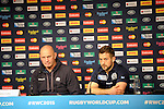 ENG - Newcastle upon Tyne, England, October 08: During the Media Conference of Team Scotland on October 8, 2015 at St. James Park in Newcastle upon Tyne, England. (Photo by Dirk Markgraf / www.265-images.com) *** Local caption *** head coach Vern Cotter of Scotland, Greig Laidlaw of Scotland