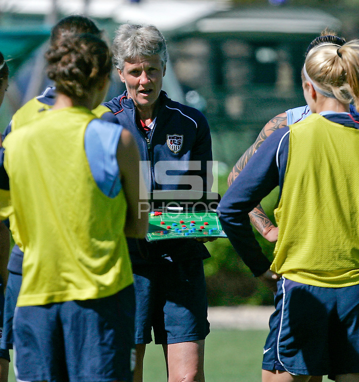 Head coach Pia Sundhage in action during their practice session at Montechoro Hotel soccer fields during Algarve Women´s Soccer Cup 2008 in Albufeira, Portugal on March 06, 2008. Paulo Cordeiro/isiphotos.com